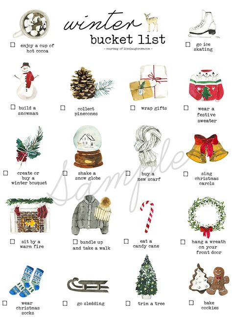 Winter Bucket List Printable - It's time to grab your coats and scarves to start tackling this Winter Bucket List. Christmas Mood, Little Christmas, All Things Christmas, Holiday Fun, Merry Christmas, Christmas Wreaths, Christmas Bucket Lists, Rustic Christmas, Christmas List Ideas