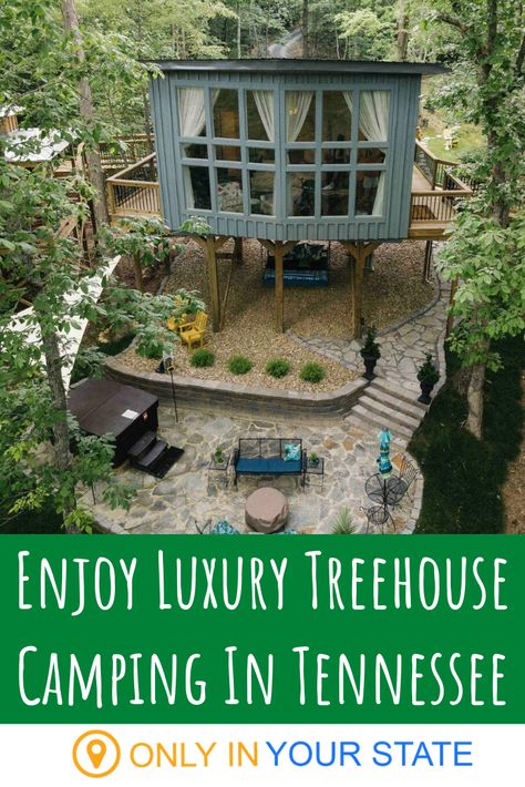 Enjoy Luxury Treehouse Camping In Tennessee - - There's nothing better than a neat Airbnb to up the ante on a Tennessee vacation experience. Vacation Places, Vacation Trips, Vacation Spots, Places To Travel, Travel Destinations, Vacation Ideas, Greece Vacation, Travel Tips, Camping In Tennessee