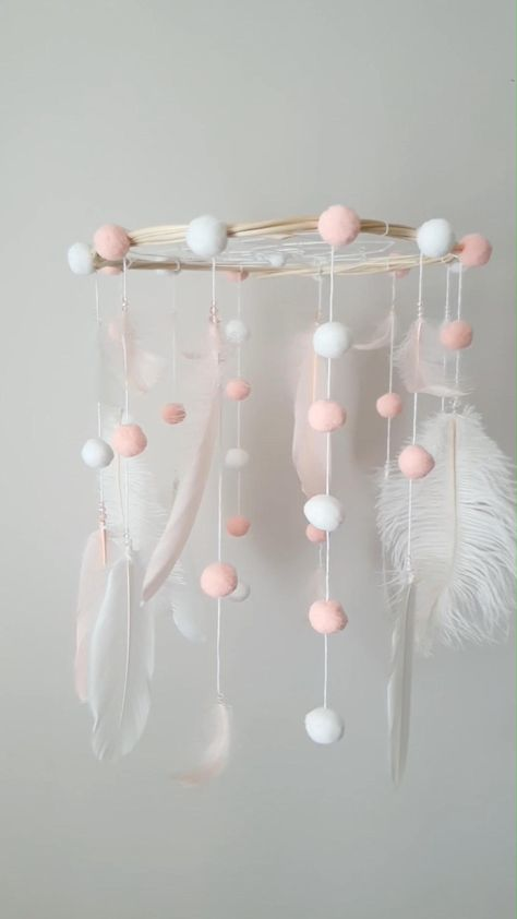 Scandinavian Mobile, Crib Mobile, Felt Mobile, Dream Catcher Mobile, Pompom Mobile, Baby Mobile, Modern Nursery, Baby Decoration Made with attention and love this mobile dream catcher brings your baby good dreams and positive energy! Say goodbye to nightmares and have the most beautiful dreams ! #dreamcatcher #mobilenursery #nursery #pinkmobile #cutemobile #pompommobile #Scandi #scandinavian #feltmobile #babygirl #cribmobile