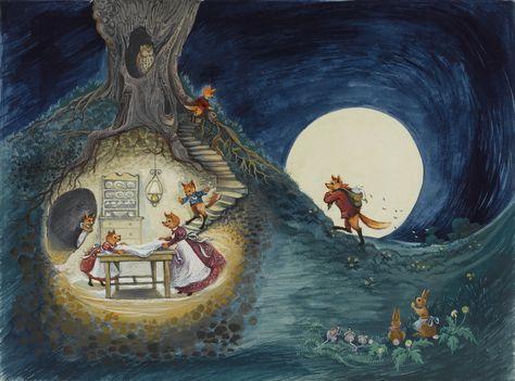 "Illustration by Jill Bennett. for the book ""FANTASTIC MR FOX"" written by Dahl, Roald : 1974 Puffin edition"