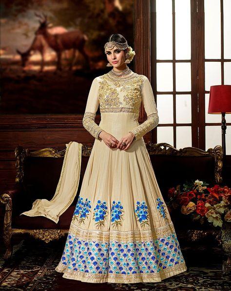 Beige Crape Party Wear Embroidered Anarkali Salwar Kameez After placed order you should submit MeasurementHere