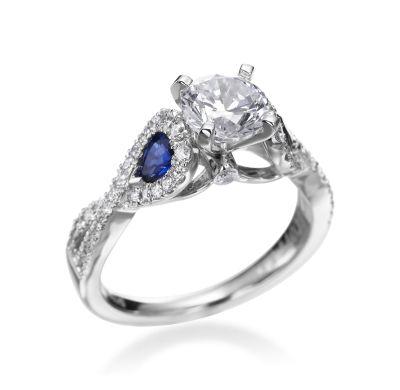 Scott Kay - Radiance Collection Platinum Diamond & Pear Sapphire Twist Setting (Available at Michael C. Fina)