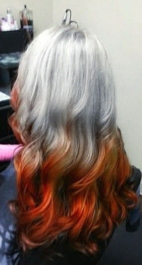 Reverse Ombre Silver And Red Grey Ombre Hair Silver Ombre Hair Grey Hair Color