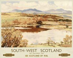 GALLOWAY SCOTLAND VINTAGE RAILWAY TRAVEL POSTER ADVERTISING  OPPENHEIMER ART