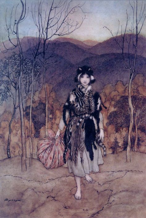 Arthur Rackham, from English fairy tales, retold by Flora Annie Steel, New York, 1922.She went along, and went along, and went along.