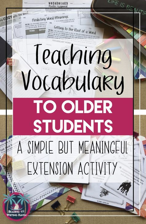 A Fun Vocabulary Activity for Middle or High School | Reading and Writing Haven