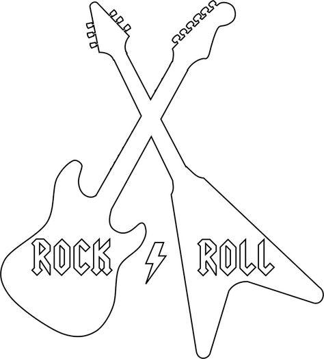 Rock Roll Shirt W Template Dibujos De Guitarras Rock