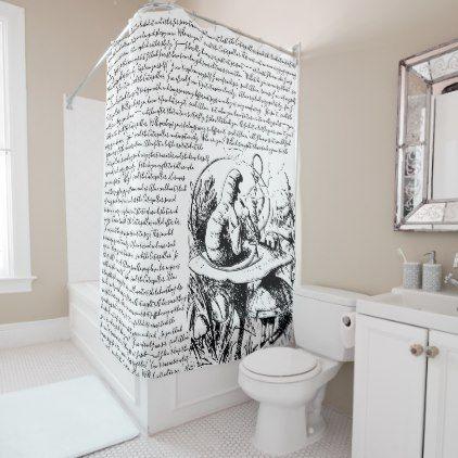 Vintage Black White Alice In Wonderland Shower Curtain Zazzle Com With Images White Bathroom Decor