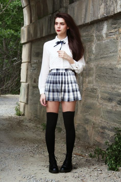 This look couldn't be more high school inspired it literally looks like a high school uniform.