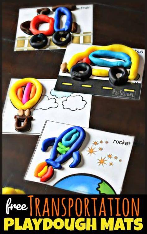FREE Transportation Playdough Cards