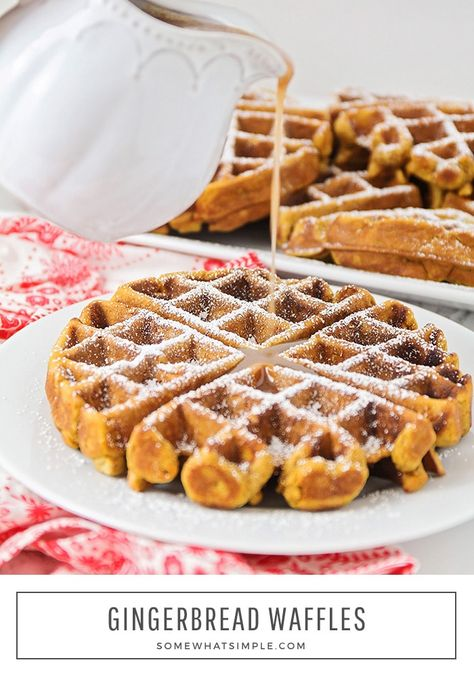 Gingerbread Waffles are the perfect holiday breakfast! They're deliciously sweet on their own, but taste like heaven when drizzled with our homemade cinnamon cream syrup! #gingerbreadwaffles #gingerbreadwafflerecipe #easygingerbreadwaffles #christmasbreakfast #gingerbread