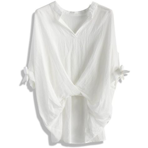 Chicwish Casual Twist Smock Top in White ($36) ❤ liked on Polyvore featuring tops, blouses, shirts, tops - blouses, white, white cotton blouse, cotton button shirt, batwing shirt, button shirt and cotton blouses