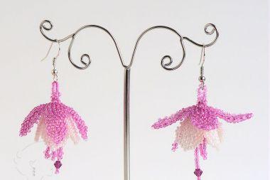 Fuchsia Flower Earrings Beading Tutorial Cath Thomas Designs Samohtac Fuchsia Flower Earring Tutorial Flower Earrings