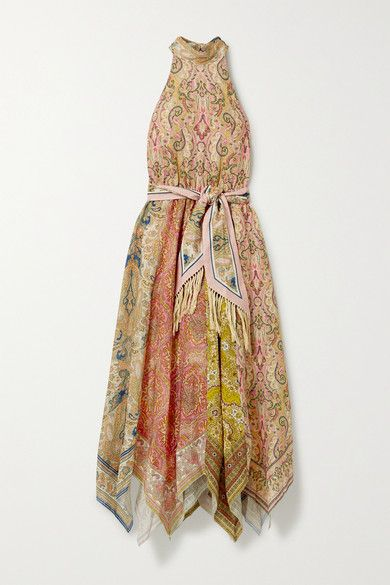 Zimmermann's 'Freja' dress is decorated with an ornate '70s-inspired paisley print. Cut from lightweight linen, it has a feminine A-line silhouette with an elasticated waistband and falls fluidly to a handkerchief hem. Wear it with the fringed belt and sandals.