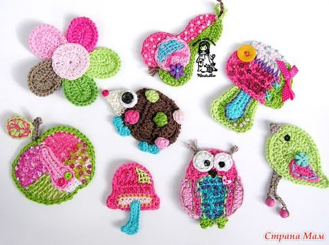 cute crochet appliques - what a great way to dress up or patch clothes.