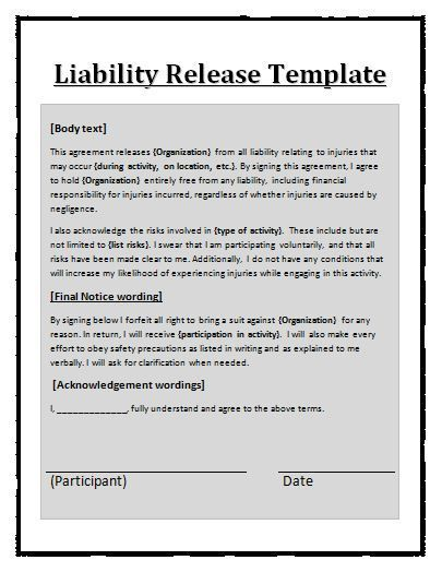 Printable Sample Liability Release Form Template Form Dog