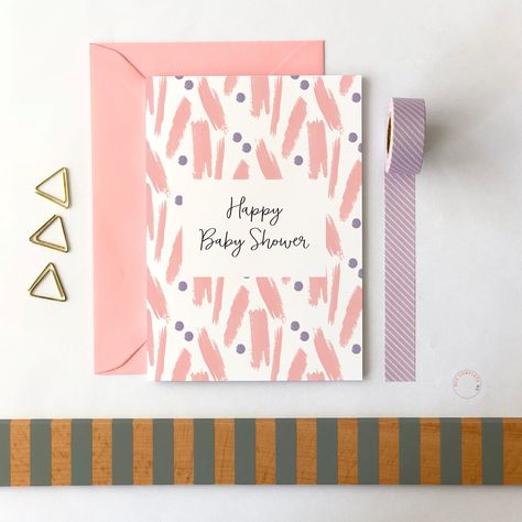 Pink Shower Card Happy Baby Shower Baby Shower Card Girl Baby Shower