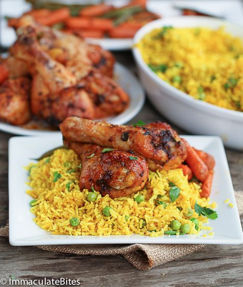 Baked Paprika Garlic Chicken Legs. Serve with South African Yellow Rice from the same web site. ♥ Immaculate Bites