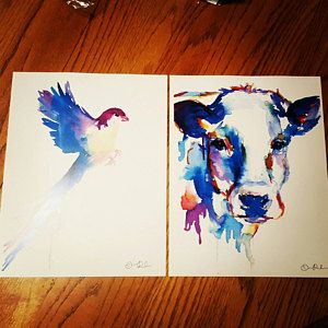 Cow Watercolor Print Animal Watercolor Cow Painting Cow By