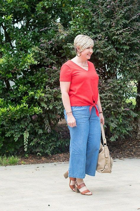 wide leg pants outfit #fashionover40 #summerstyle #summeroutfit #fashionforwomenover40preppy