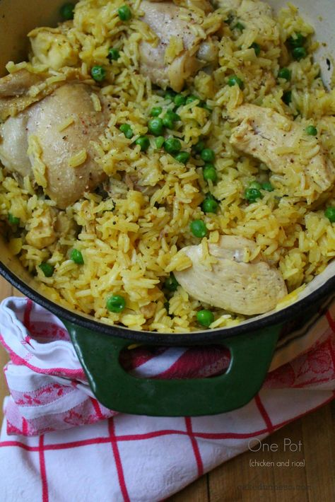 one pot chicken and rice, used two chicken breasts (browned for 6-8min) and simmered for about 20 minutes. So good.