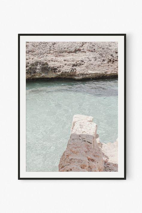 Coastal Beach Cliffs Wall Art, Printable Photography