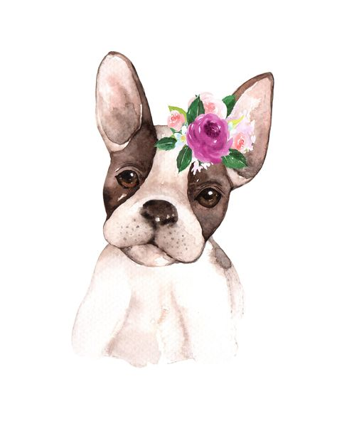 French Bulldog Flower Floral Crown Watercolor Kid Printable Wall Art Poster Nursery Decor Gallery Dog Puppy Pink Child Pink INSTANT DOWNLOAD