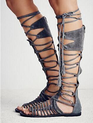 New Hot Bohemia Style Summer Boots Cross Tie Fringe Flat