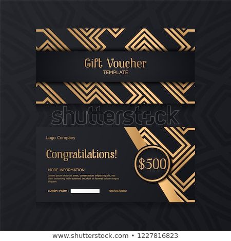 Luxury Voucher Template With Gold And Black Background Set Of