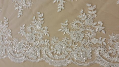 per metre 15cm Embroidered Satin Lace Trimming Peach