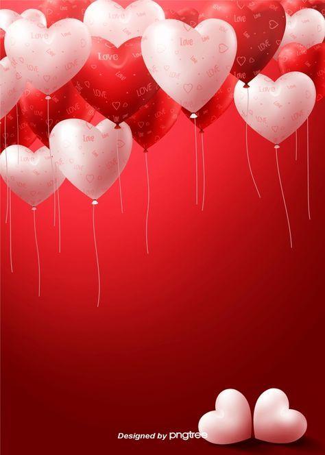 Valentines Day Balloon Romantic Love Love Balloon Delicate Gules Background Valentines Wallpaper Valentines Day Background Valentine Background