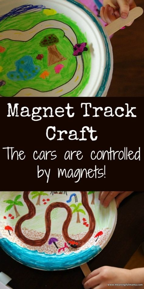 Magnet Track Craft - The car is guided by a magnet on a popsicle stick. (PreK/K STEM)