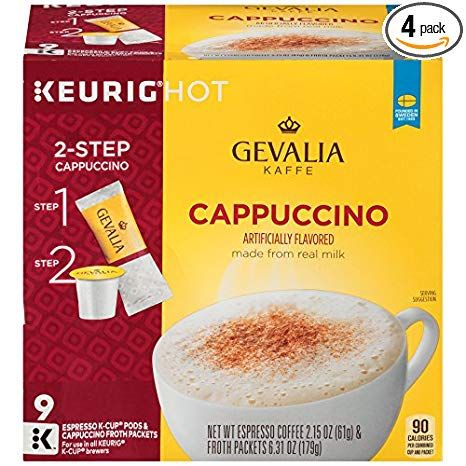 Gevalia Cappuccino Keurig K Cup Pods With Froth Packets 36 Count 4 Boxes Of 9 Review Gevalia Cappuccino K Cups Cappuccino