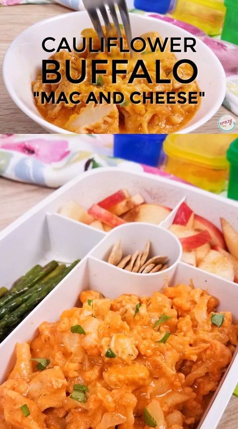 This buffalo cauliflower mac and cheese is made with cauliflower and chicken, and it's a healthy wee