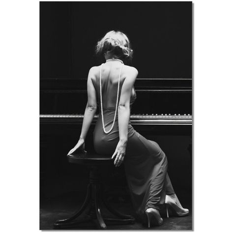 The glamorous woman depicted in the J&M Furniture Acrylic Art Piano Beauty will add sensual grace to any home art gallery wall. The crisp black and white photographic image is printed directly onto the acrylic canvas. Piano Photography, Boudoir Photography Poses, Boudoir Poses, Dark Photography, Portrait Photography, Contemporary Wall Art, Acrylic Art, Photoshoot, Black And White