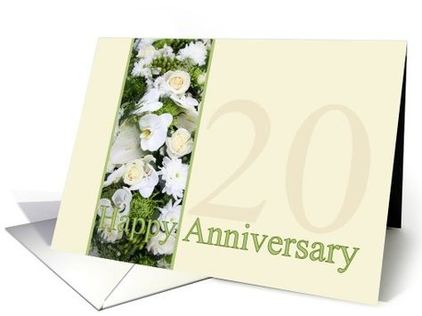 20th Wedding Anniversary White mixed bouquet card