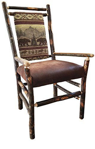 Set Of Two Hickory And Oak Medium Back Dining Chairs With Arms Bear Mountain Fabric Amish Made Barn Furniture Dining Chairs Fabric Dining Chairs