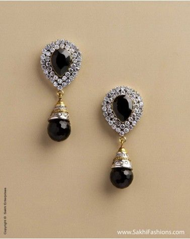 Silver Earrings Featuring Black Onex Stone And Diamante