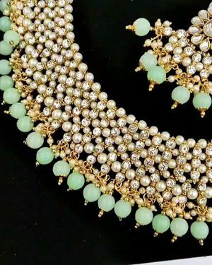 c626969341cd2 Mint Green Gold Silver Indian Necklace Jewellery Jewelry Set | mint ...