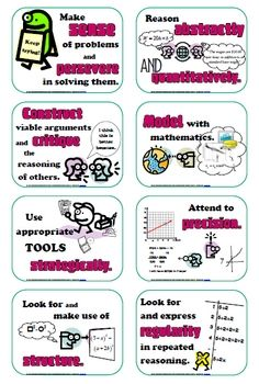 Middle school/high school==Common Core Posters: Standards for Mathematical Practice...  These math practice standards are common for all grade levels, but my poster illustrations are definitely algebraic in focus.