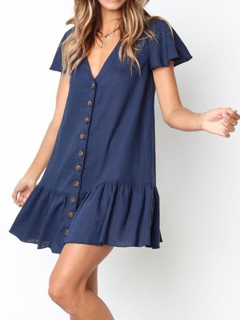 Bestyleme Casual Pleated Solid Short Dress Navy Blue-S