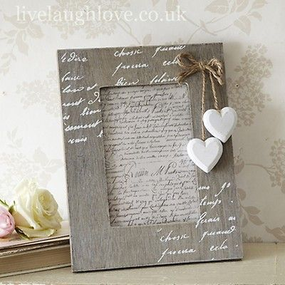 """3X3/"""" Wooden Square White Hanging Hearts Photo Frame"""