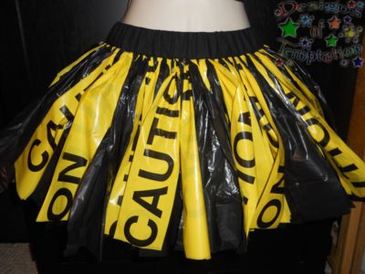 Designs of Temptation : Small Caution Tape Garbage Bag Tutu Skirt Party Rave Goth Scene Emo Dance