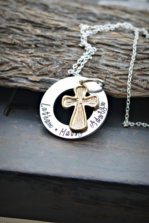 Christmas gifts personalized for grandma | Monogrammed gifts | Cross charm necklace | Family Name on necklace | Personalised Necklace cross