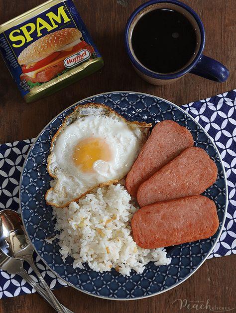Spam Breakfast Recipe, Filipino Breakfast, Breakfast Recipes, Spam Recipes, Healthy Recipes, Peach Kitchen, Chicken Wing Recipes, Aesthetic Food, Food Cravings