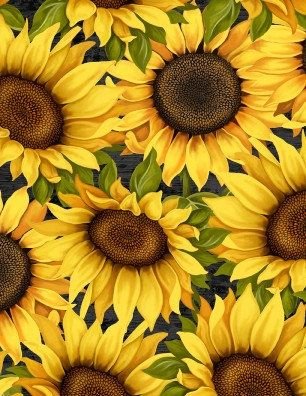 Large Sunflowers Black Fabric Floral Sunflower Yardage