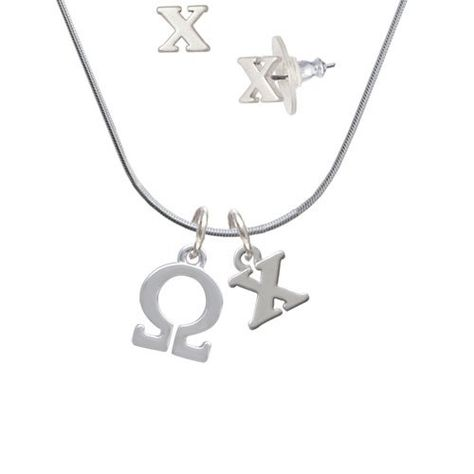 silvertone large greek letter - omega - x initial charm necklace and