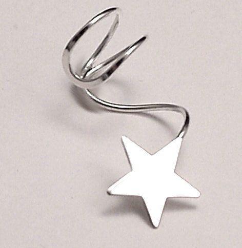 LONE STAR EARCUFF Pair   Two Shooting Star Sterling 925 Silver Ear Cuffs