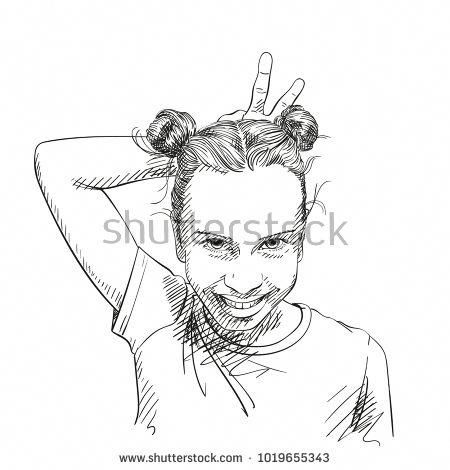 Sketch Of Funny Teenage Girl With Two Buns Hairstyle Making Horns