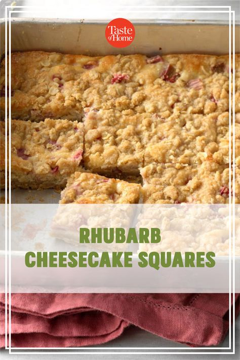 It's rhubarb season, so now's the time to try this rich and tangy cheese bar. It's bound to be a hit with the rhubarb lovers you know. —Sharon Schmidt, Mandan, North Dakota